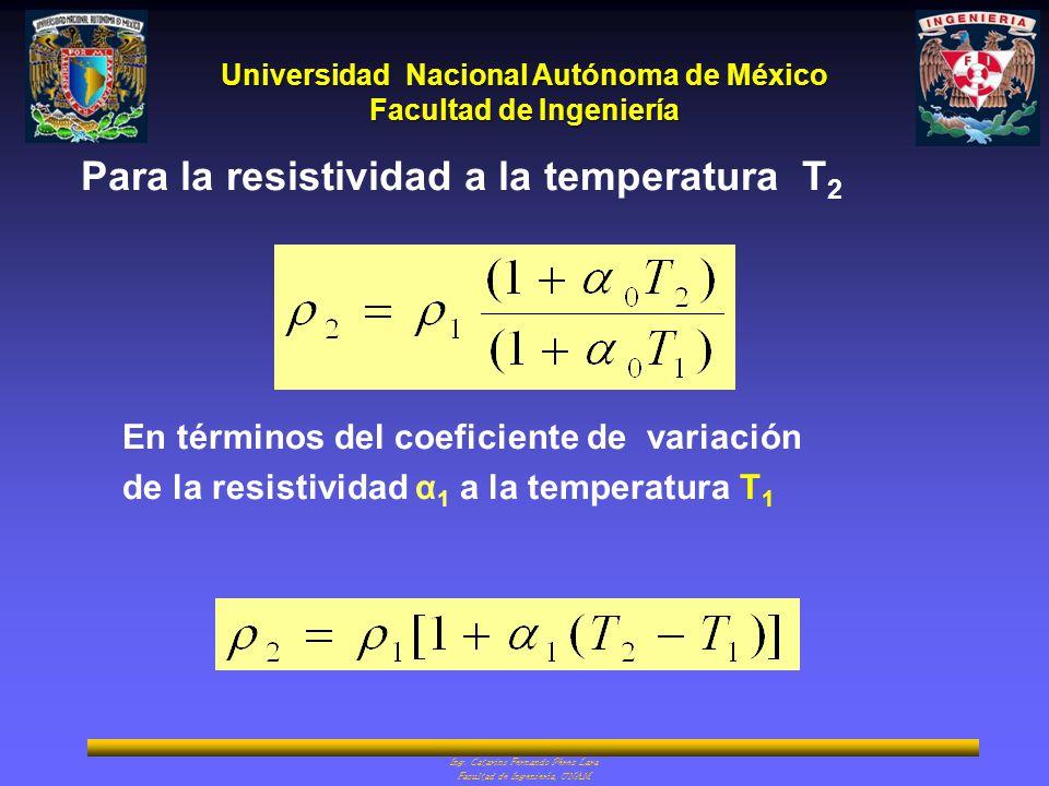 Para la resistividad a la temperatura T2