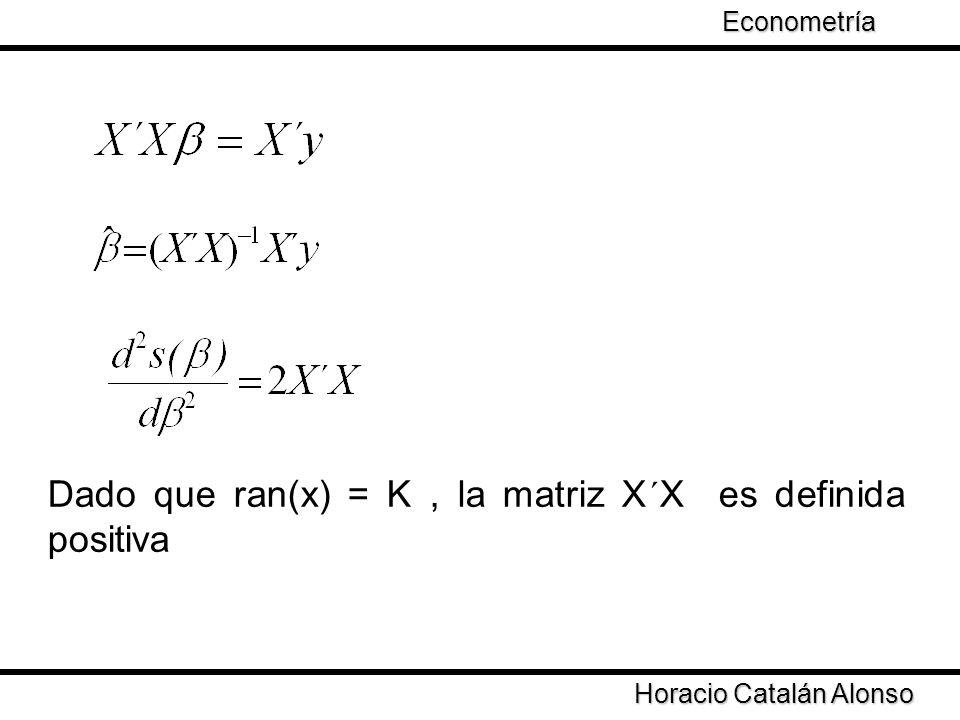 Dado que ran(x) = K , la matriz X´X es definida positiva