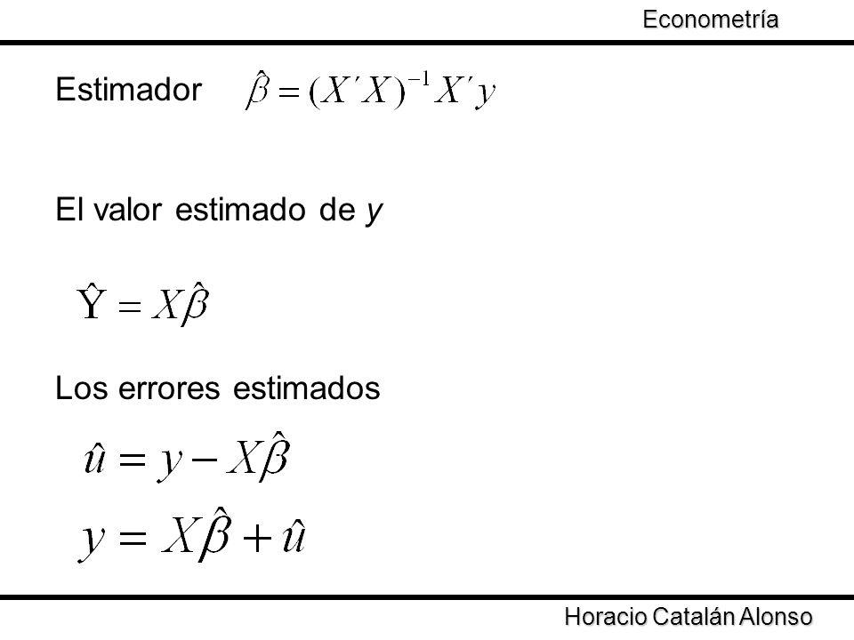 Estimador El valor estimado de y Los errores estimados Econometría