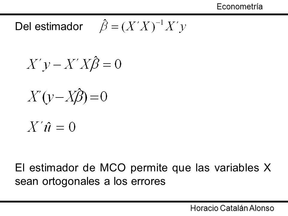 Econometría Taller de Econometría. Del estimador. El estimador de MCO permite que las variables X sean ortogonales a los errores.