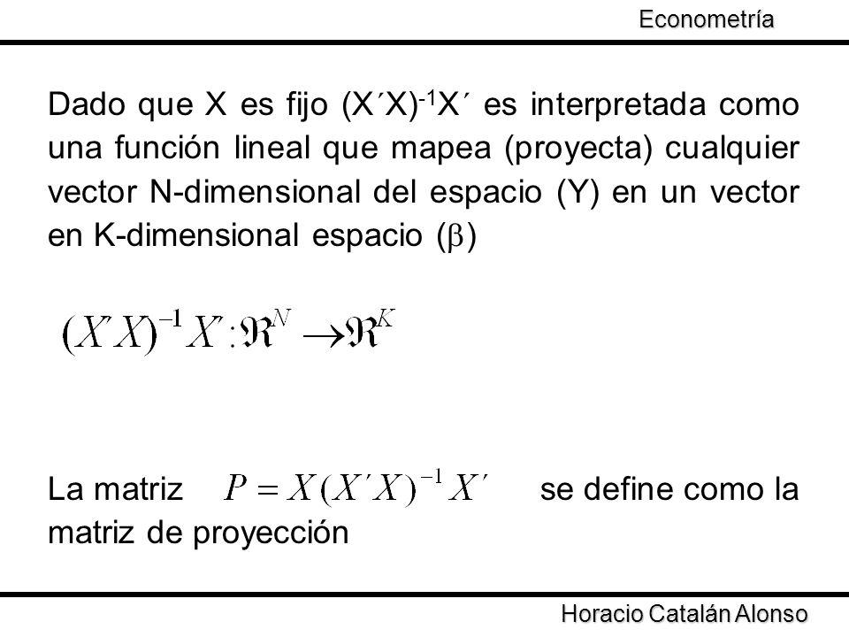 La matriz se define como la matriz de proyección