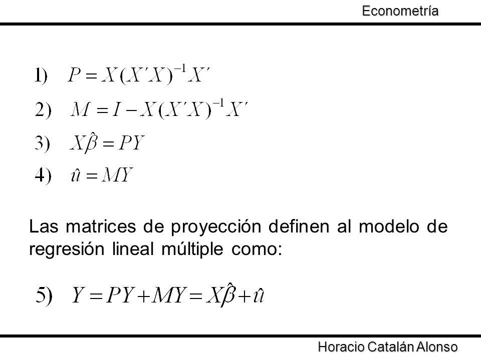 Econometría Las matrices de proyección definen al modelo de regresión lineal múltiple como: Horacio Catalán Alonso.