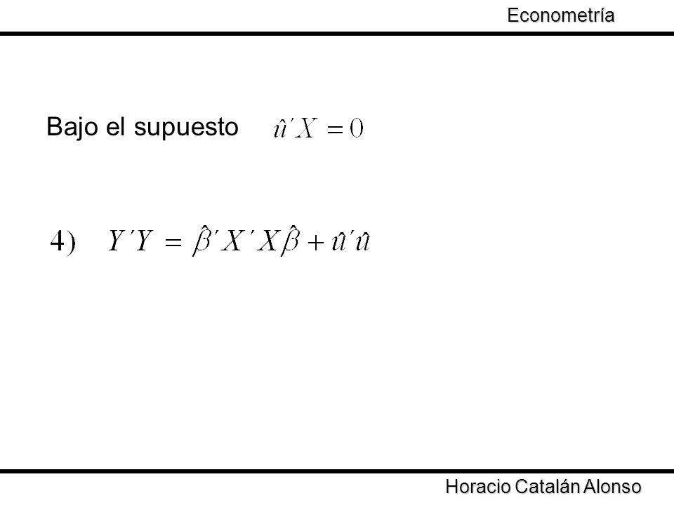 Econometría Bajo el supuesto Horacio Catalán Alonso