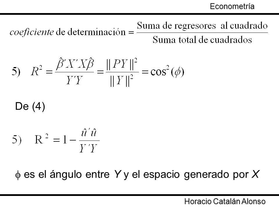 f es el ángulo entre Y y el espacio generado por X