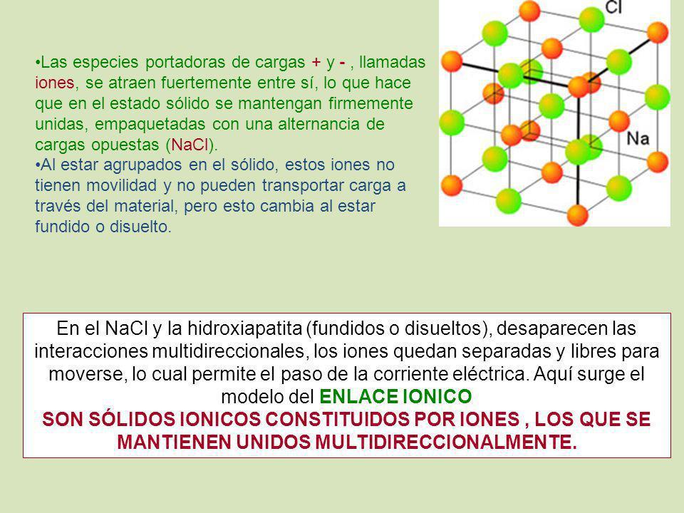 Las especies portadoras de cargas + y - , llamadas iones, se atraen fuertemente entre sí, lo que hace que en el estado sólido se mantengan firmemente unidas, empaquetadas con una alternancia de cargas opuestas (NaCl).