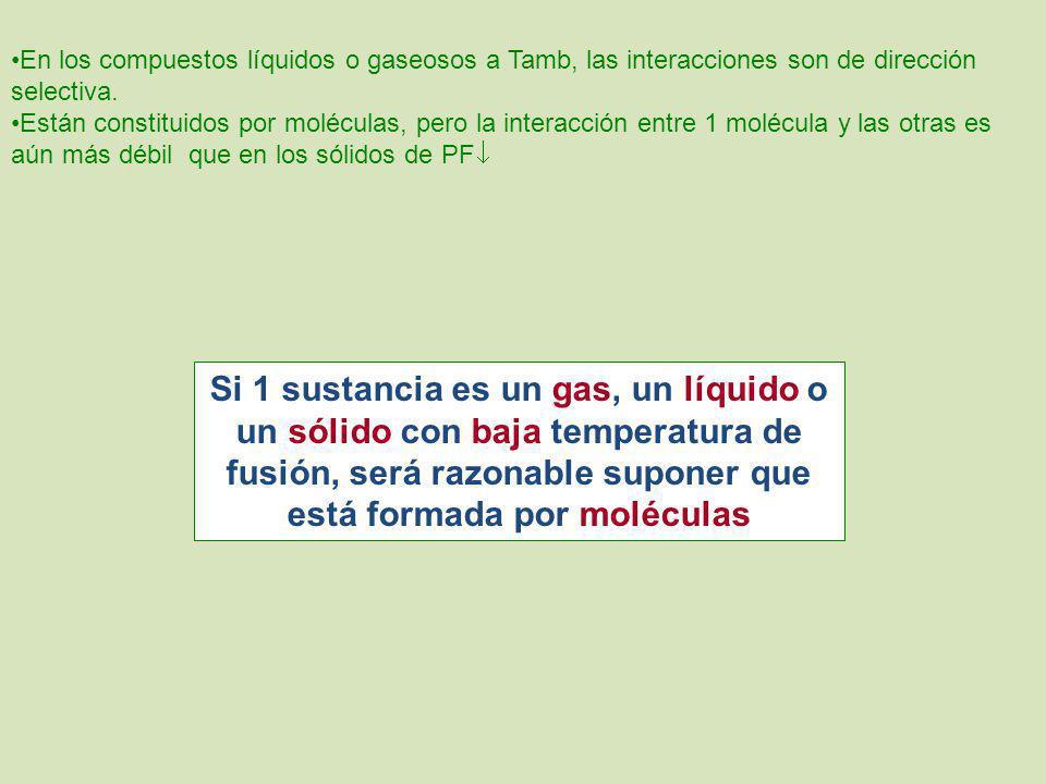 En los compuestos líquidos o gaseosos a Tamb, las interacciones son de dirección selectiva.