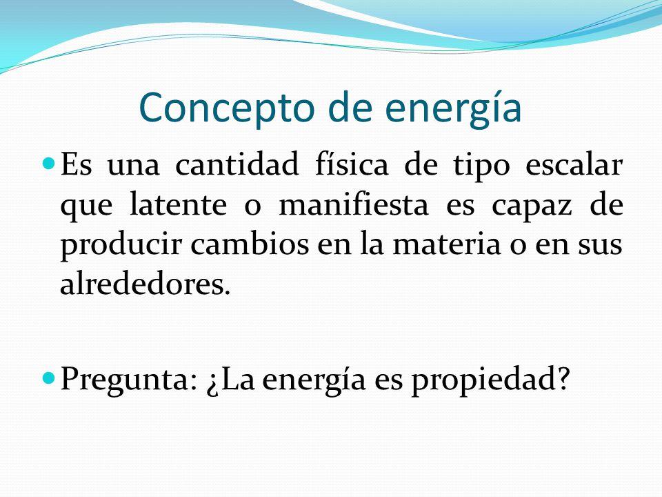 Concepto de energía Es una cantidad física de tipo escalar que latente o manifiesta es capaz de producir cambios en la materia o en sus alrededores.