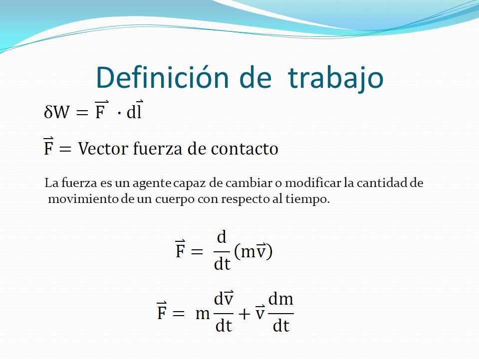 Definición de trabajo La fuerza es un agente capaz de cambiar o modificar la cantidad de.