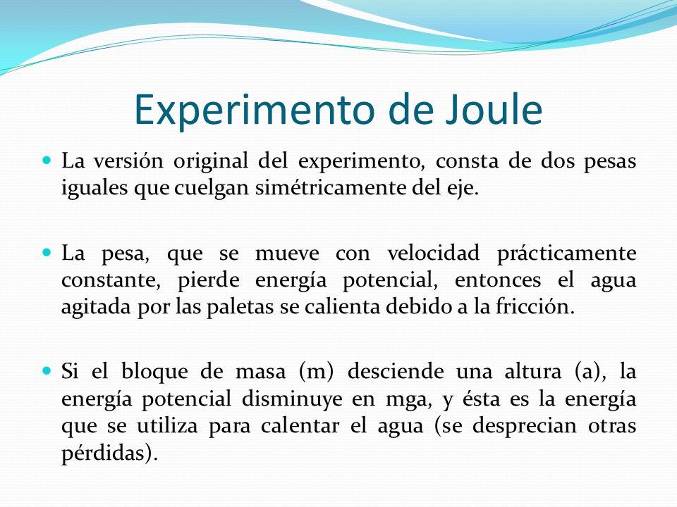 Experimento de Joule La versión original del experimento, consta de dos pesas iguales que cuelgan simétricamente del eje.