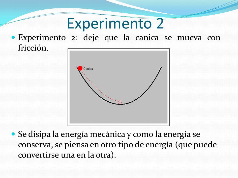 Experimento 2 Experimento 2: deje que la canica se mueva con fricción.