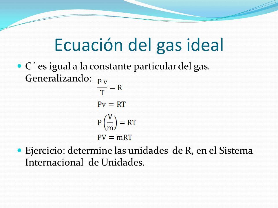 Ecuación del gas ideal C´ es igual a la constante particular del gas. Generalizando:
