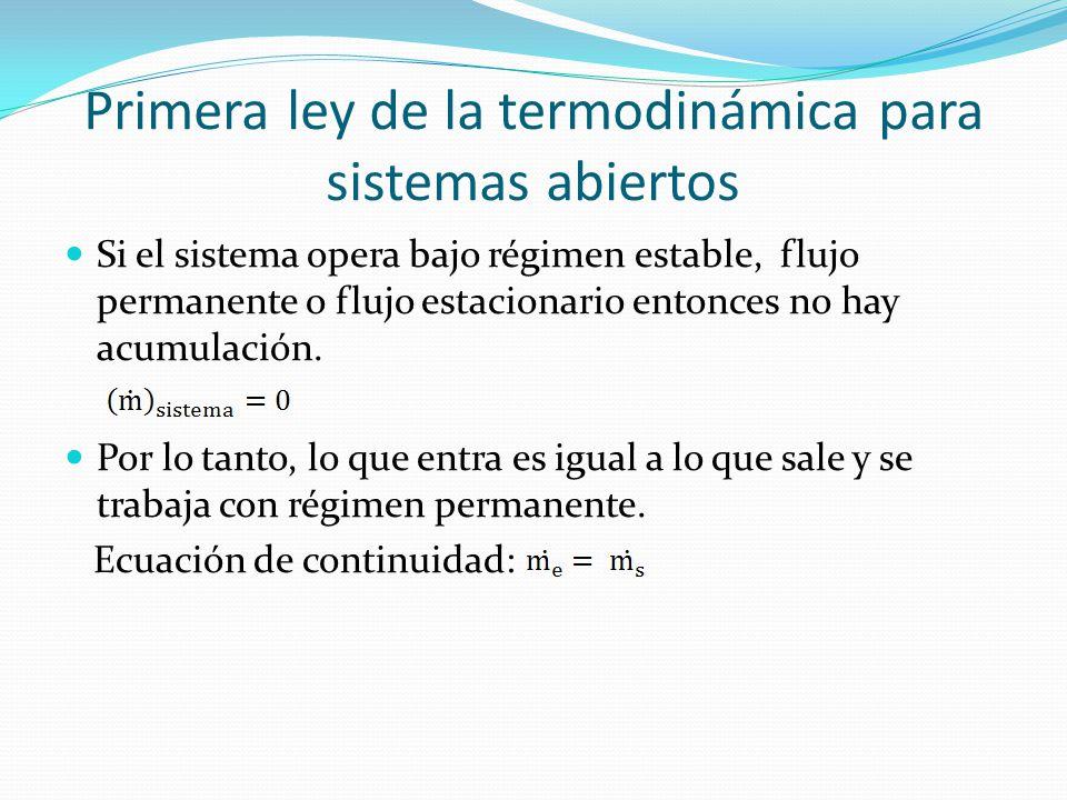 Primera ley de la termodinámica para sistemas abiertos