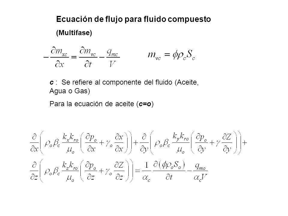 Ecuación de flujo para fluido compuesto