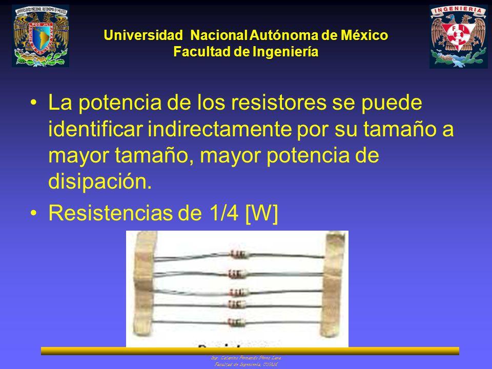 La potencia de los resistores se puede identificar indirectamente por su tamaño a mayor tamaño, mayor potencia de disipación.