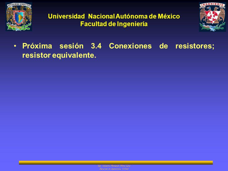 Próxima sesión 3.4 Conexiones de resistores; resistor equivalente.