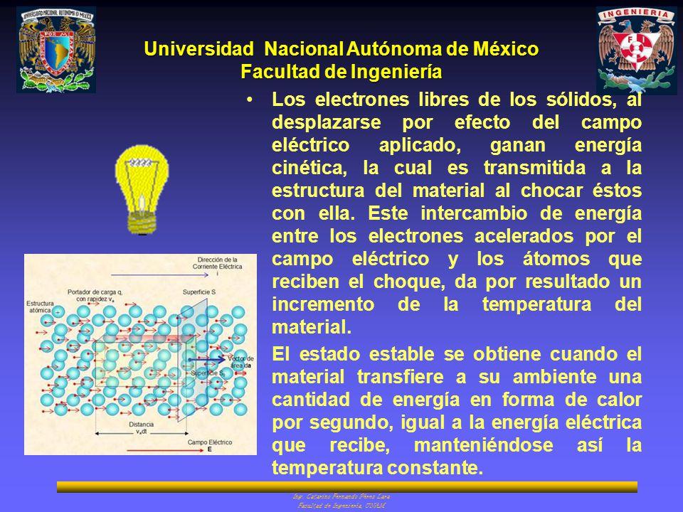Los electrones libres de los sólidos, al desplazarse por efecto del campo eléctrico aplicado, ganan energía cinética, la cual es transmitida a la estructura del material al chocar éstos con ella. Este intercambio de energía entre los electrones acelerados por el campo eléctrico y los átomos que reciben el choque, da por resultado un incremento de la temperatura del material.