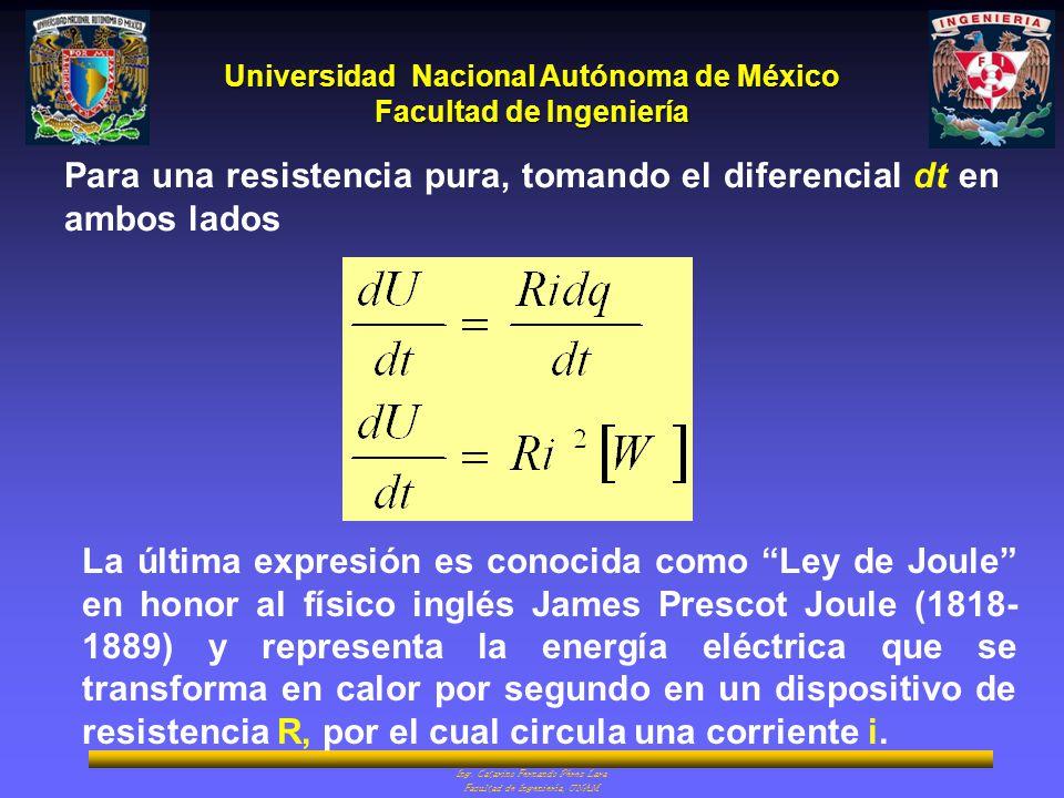 Para una resistencia pura, tomando el diferencial dt en ambos lados