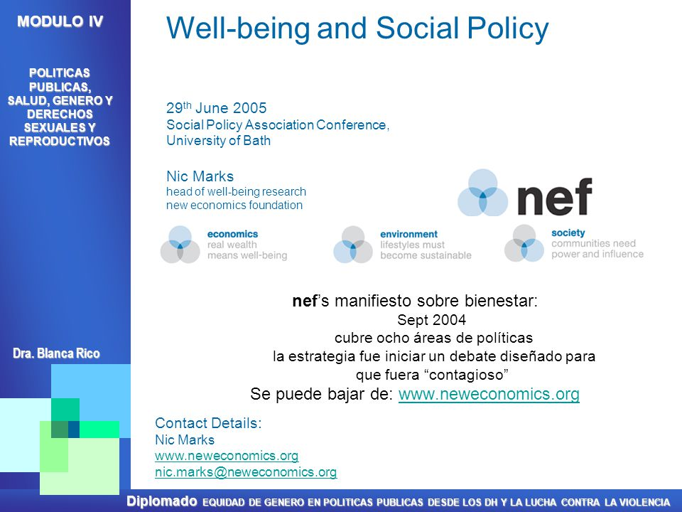 Well-being and Social Policy