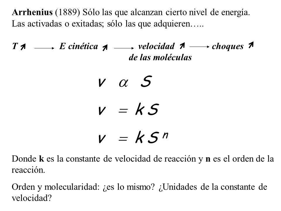 Arrhenius (1889) Sólo las que alcanzan cierto nivel de energía.