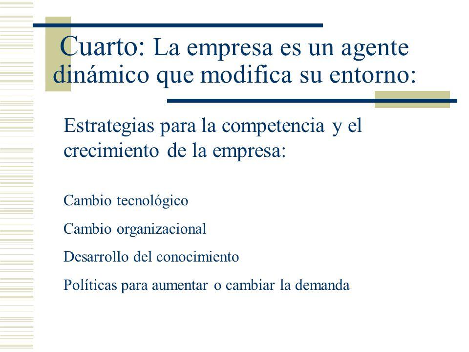 Cuarto: La empresa es un agente dinámico que modifica su entorno: