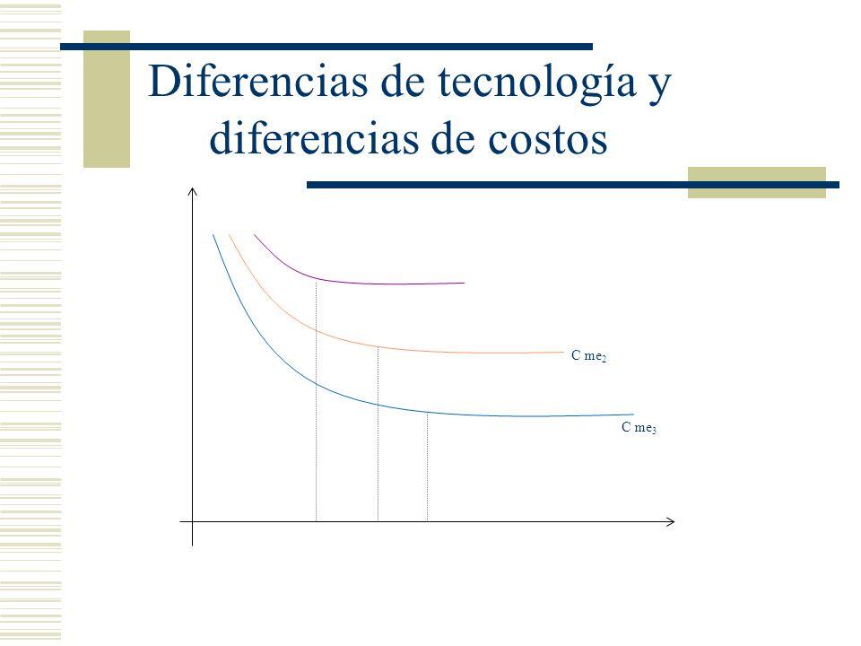 Diferencias de tecnología y diferencias de costos
