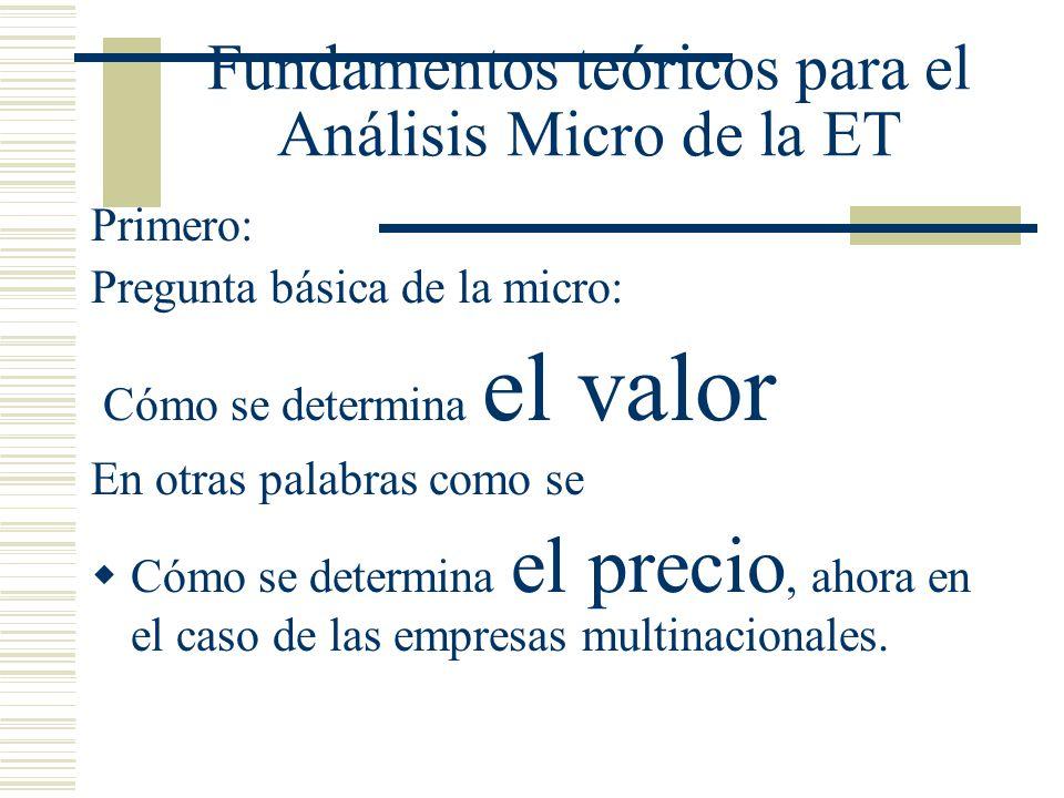 Fundamentos teóricos para el Análisis Micro de la ET