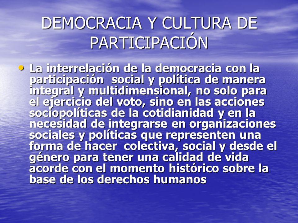 DEMOCRACIA Y CULTURA DE PARTICIPACIÓN