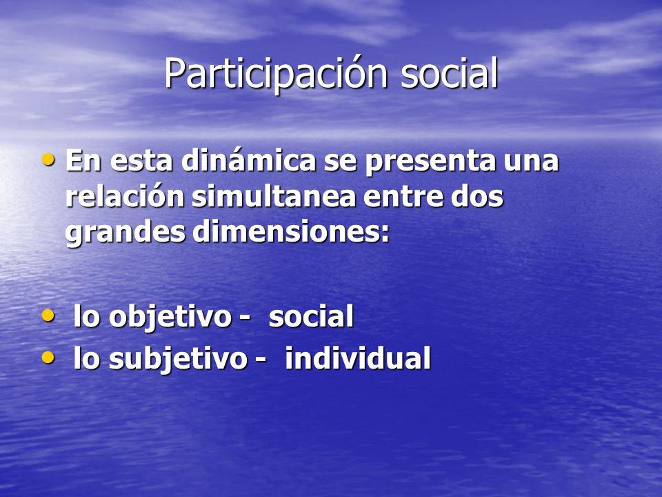 Participación social En esta dinámica se presenta una relación simultanea entre dos grandes dimensiones: