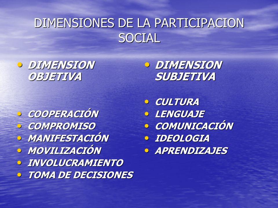 DIMENSIONES DE LA PARTICIPACION SOCIAL