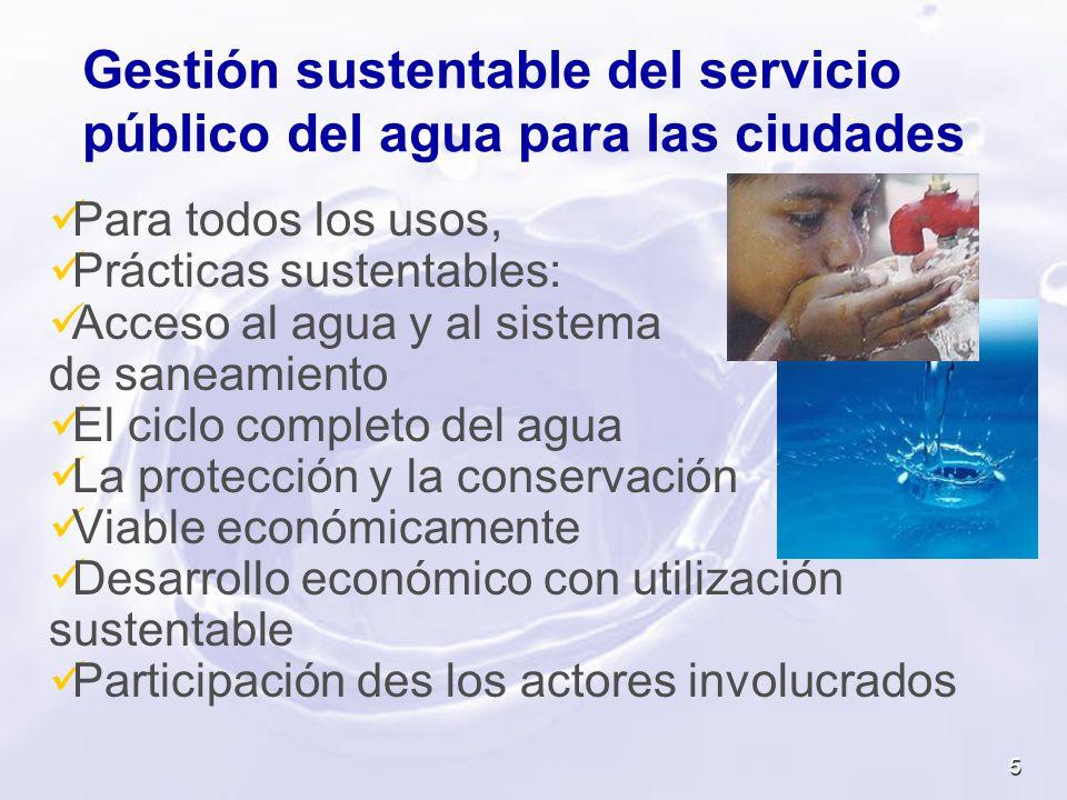 Gestión sustentable del servicio público del agua para las ciudades