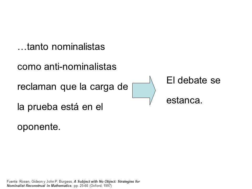 …tanto nominalistas como anti-nominalistas reclaman que la carga de la prueba está en el oponente.