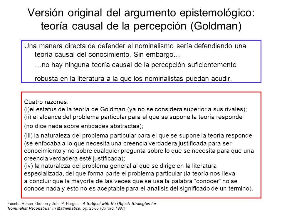 Versión original del argumento epistemológico: teoría causal de la percepción (Goldman)