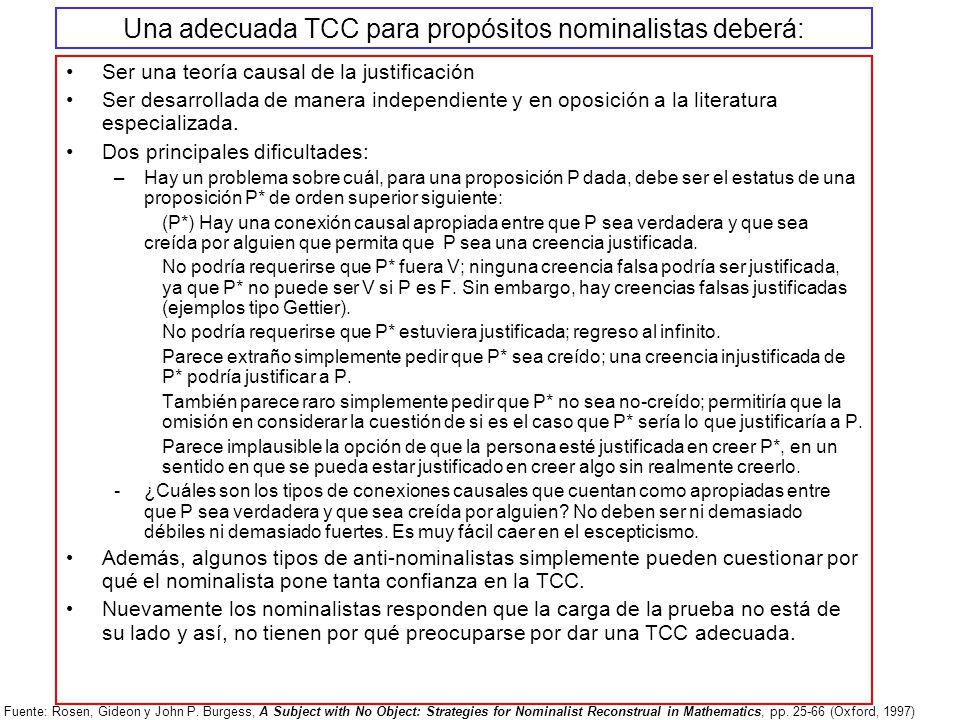 Una adecuada TCC para propósitos nominalistas deberá: