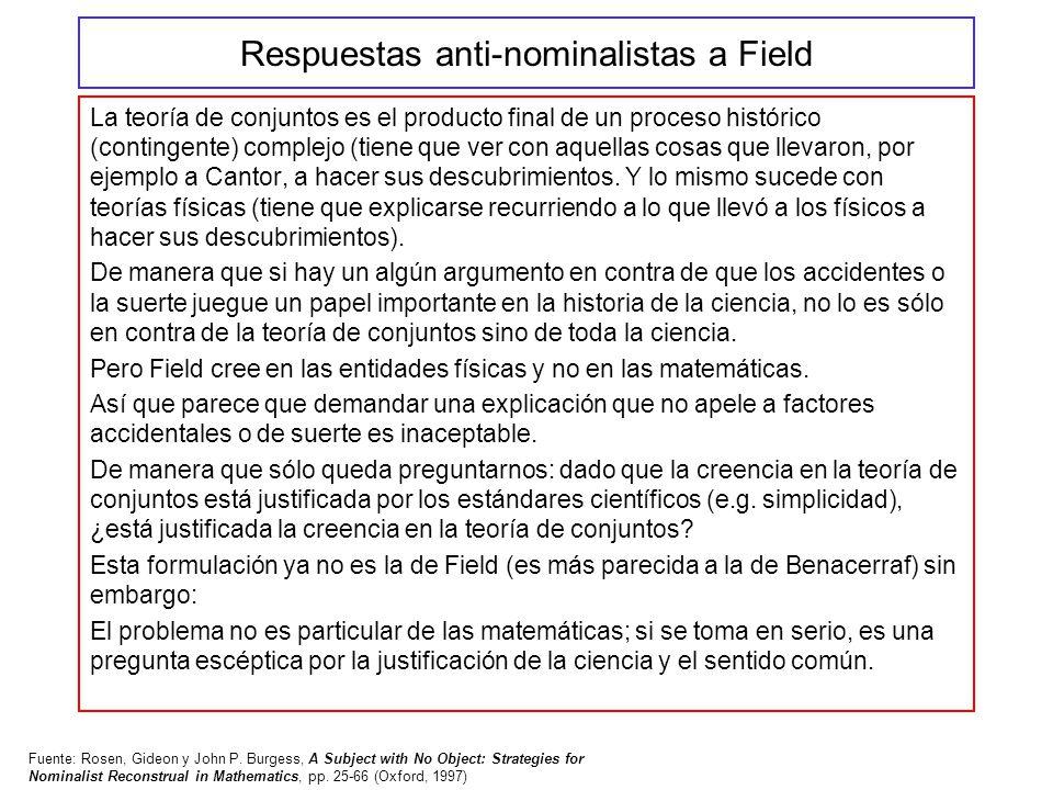 Respuestas anti-nominalistas a Field