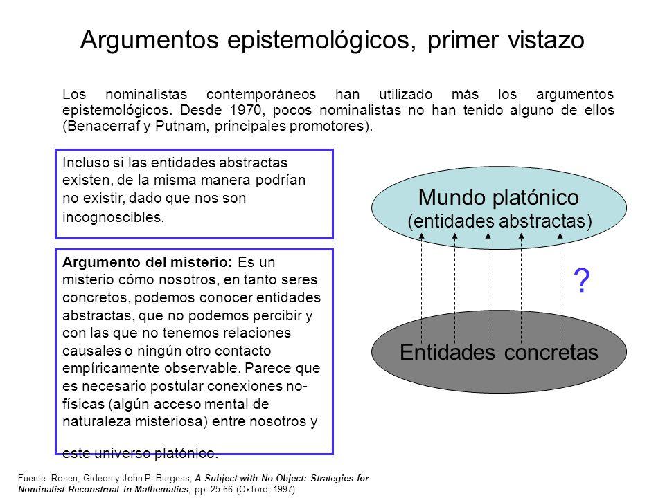Argumentos epistemológicos, primer vistazo
