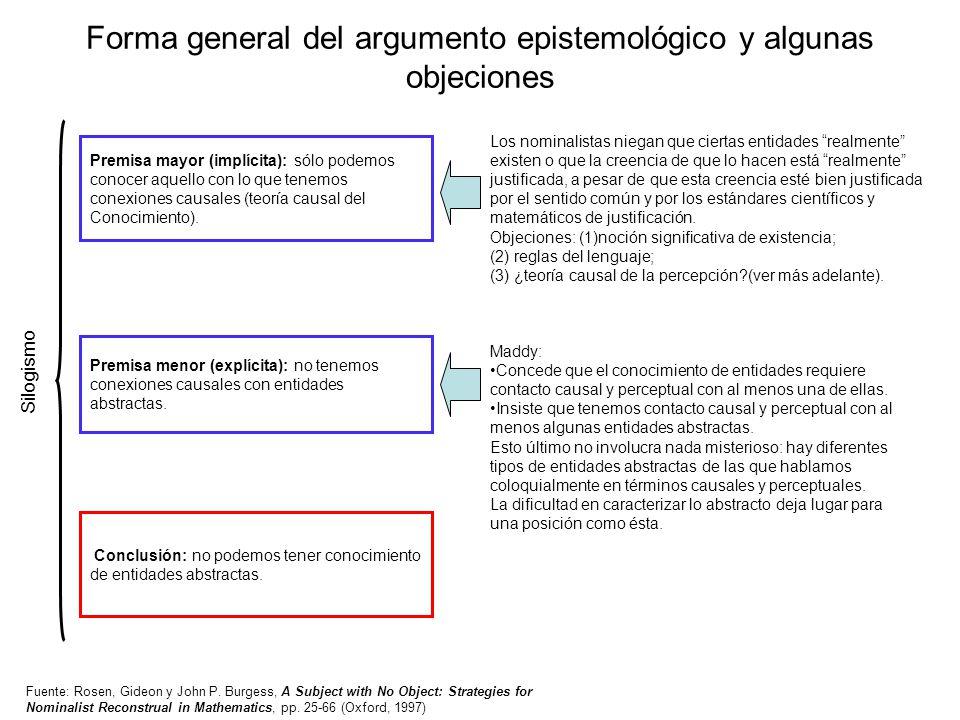 Forma general del argumento epistemológico y algunas objeciones