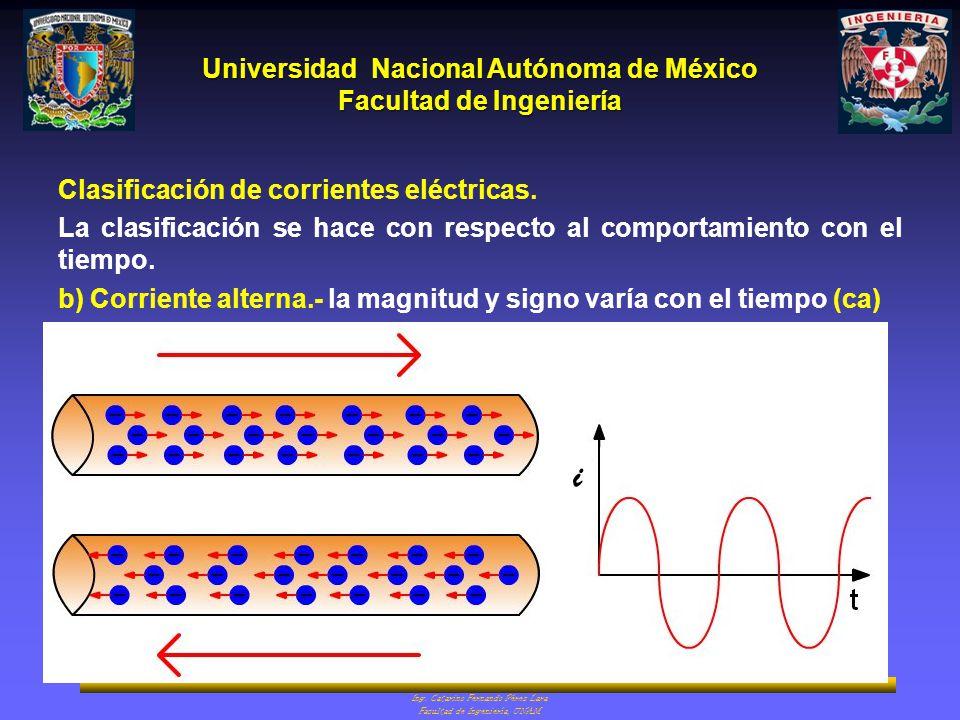 i Clasificación de corrientes eléctricas.