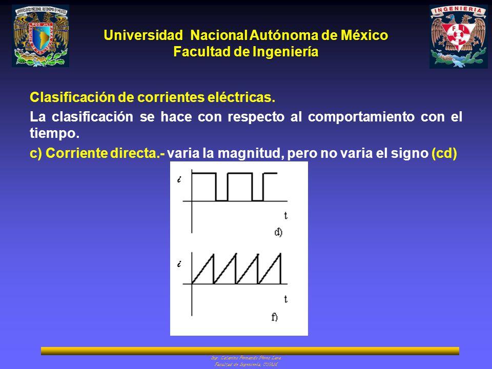 Clasificación de corrientes eléctricas.