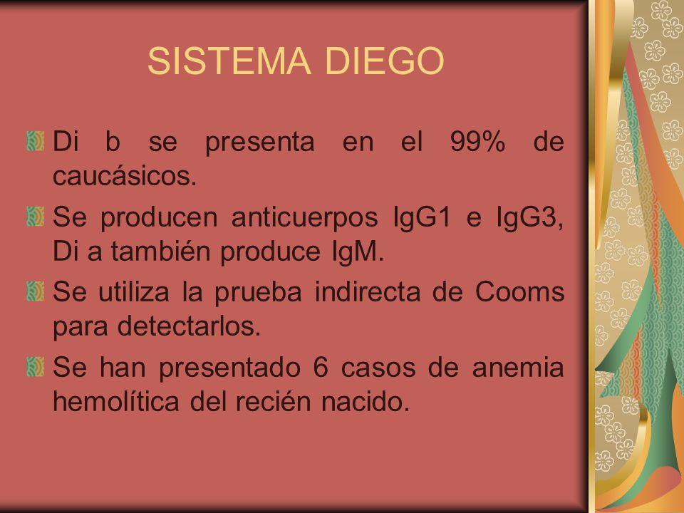 SISTEMA DIEGO Di b se presenta en el 99% de caucásicos.
