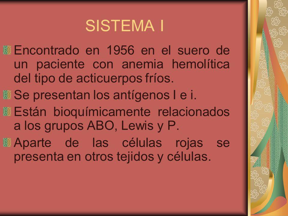 SISTEMA I Encontrado en 1956 en el suero de un paciente con anemia hemolítica del tipo de acticuerpos fríos.