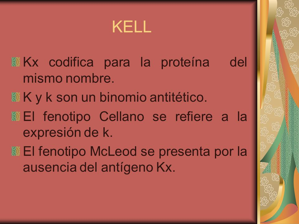 KELL Kx codifica para la proteína del mismo nombre.