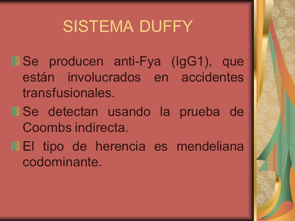 SISTEMA DUFFY Se producen anti-Fya (IgG1), que están involucrados en accidentes transfusionales. Se detectan usando la prueba de Coombs indirecta.