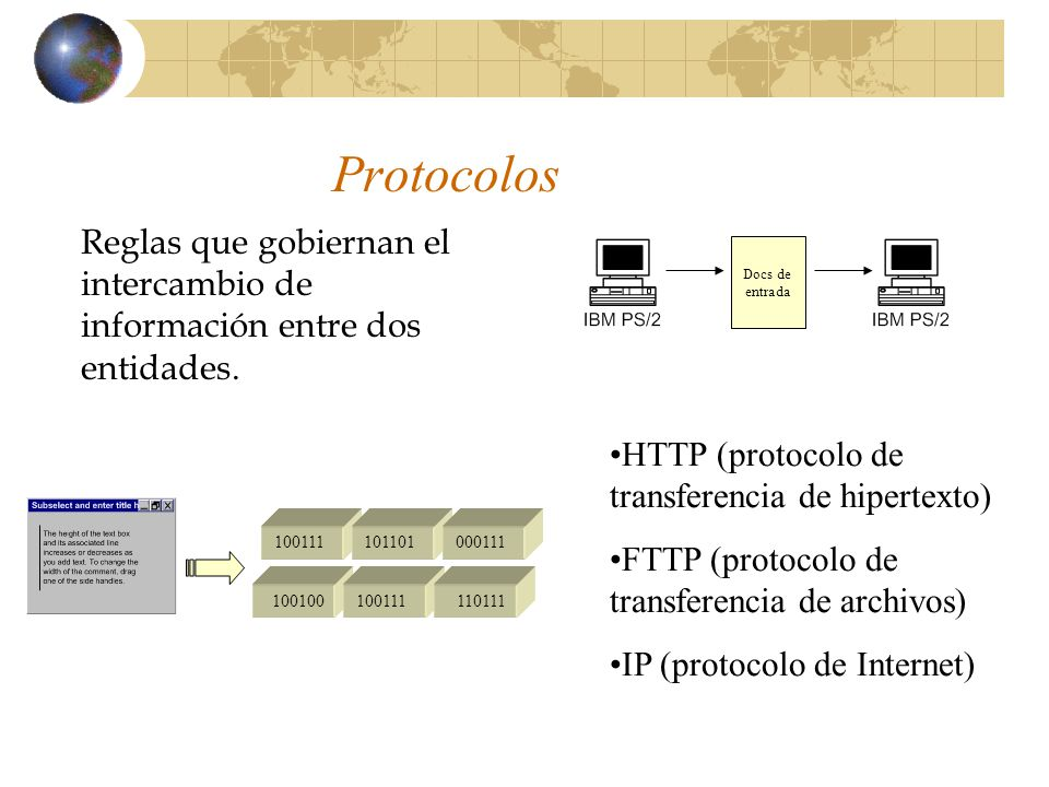 Protocolos Reglas que gobiernan el intercambio de información entre dos entidades. Docs de. entrada.