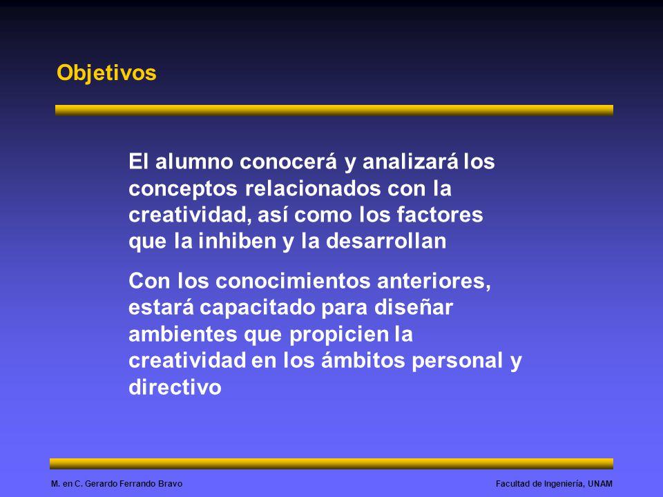 Objetivos El alumno conocerá y analizará los conceptos relacionados con la creatividad, así como los factores que la inhiben y la desarrollan.