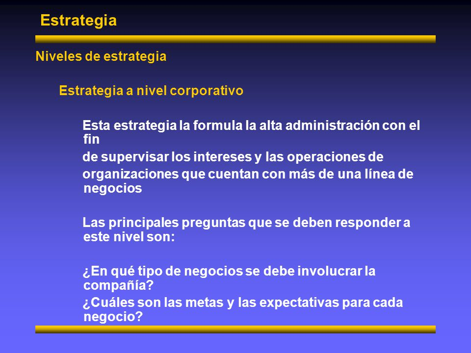 Estrategia Niveles de estrategia Estrategia a nivel corporativo