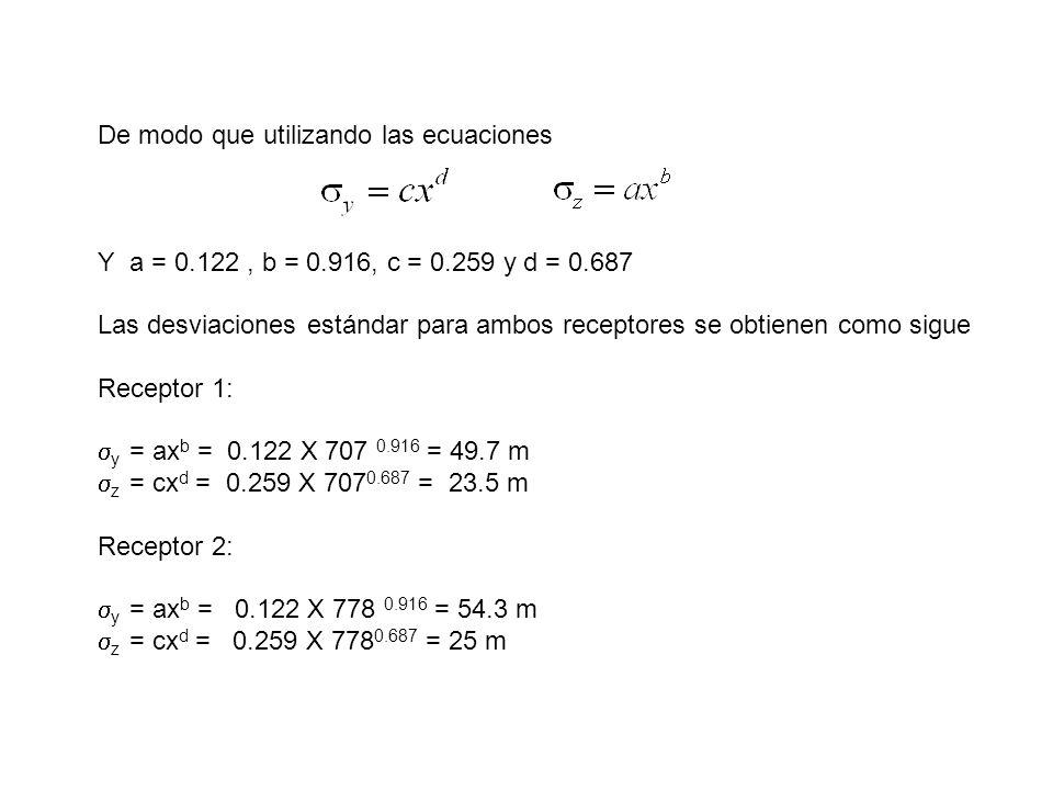 De modo que utilizando las ecuaciones