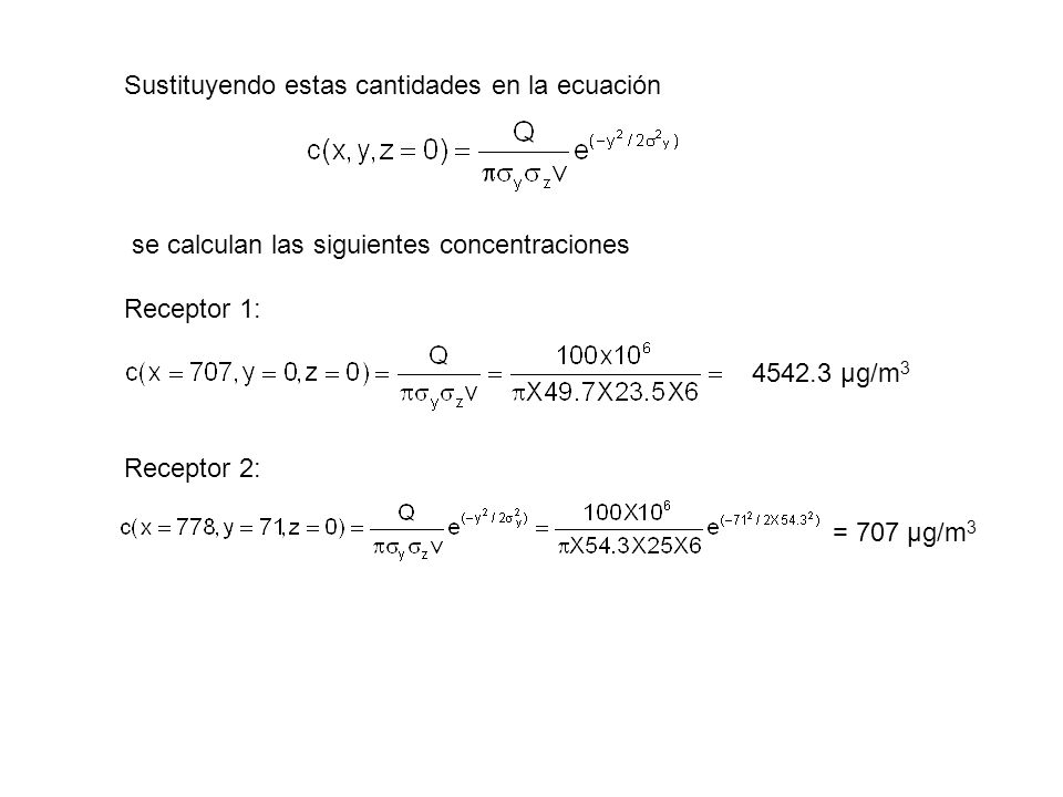 Sustituyendo estas cantidades en la ecuación