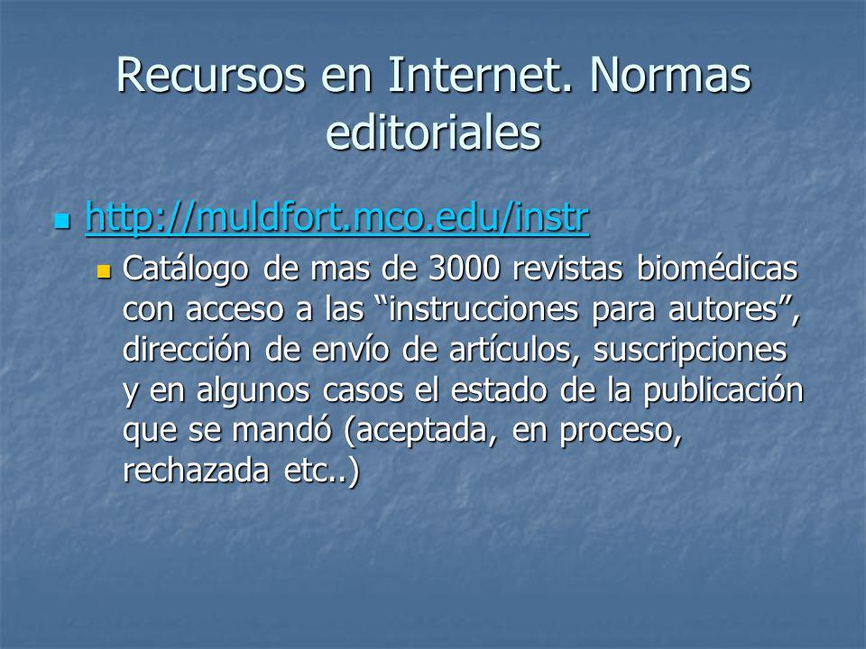 Recursos en Internet. Normas editoriales