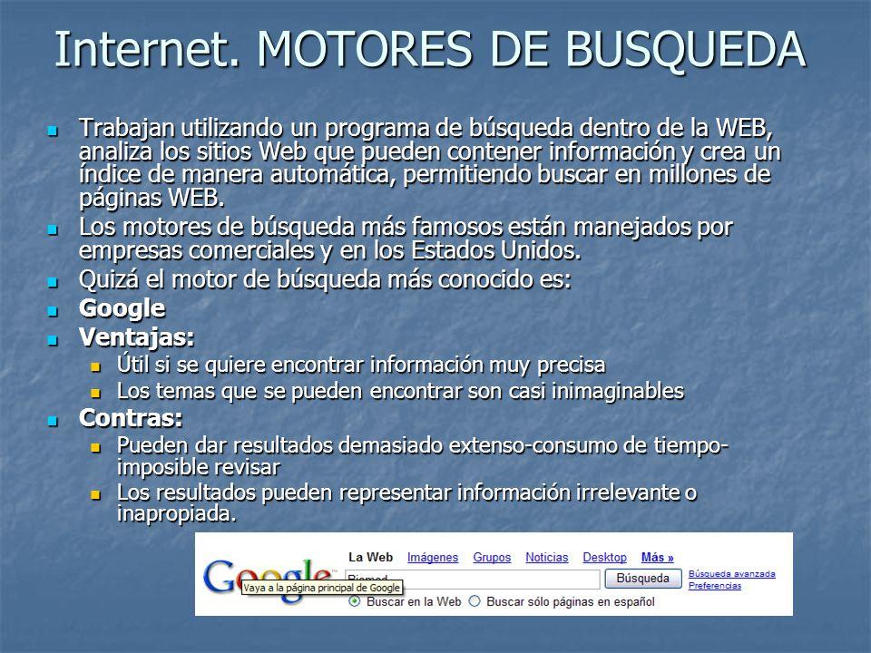 Internet. MOTORES DE BUSQUEDA