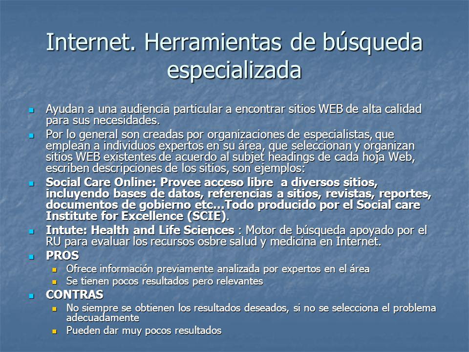 Internet. Herramientas de búsqueda especializada